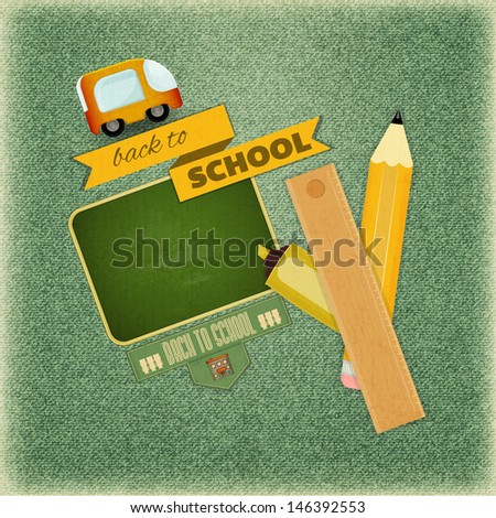 Retro Card Back to School Design School Board and School Supplies on Vintage Jeans Background Vector Illustration
