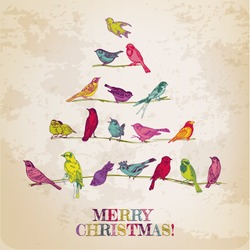 Retro Card. Birds on Christmas Tree. Invitation, congratulation in vector