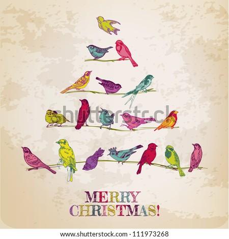 retro card. birds on christmas...