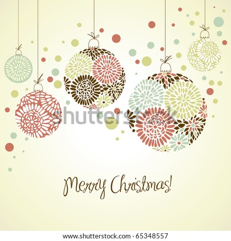 Retro card with Christmas balls