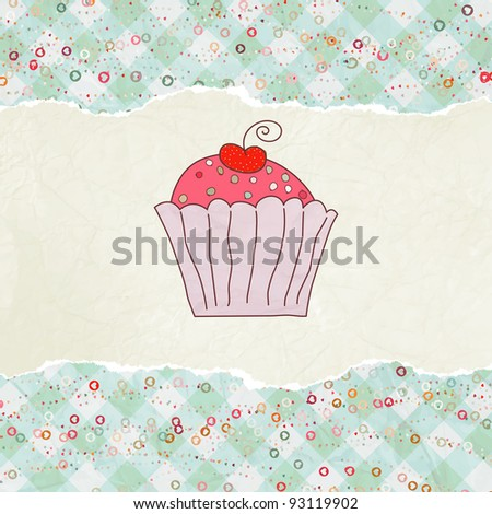 Retro card with cupcake. EPS 8 vector file included