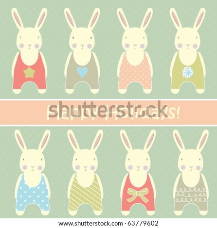 Retro card with rabbits