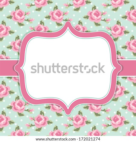 Retro Card With Roses In Shabby Chic Style As Wedding Or