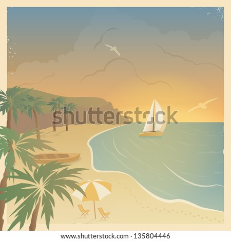 Retro card with the sailboat and a beach in a beautiful bay with palm trees at sunset