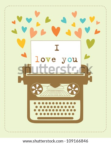 retro card with typewriter. vector illustration