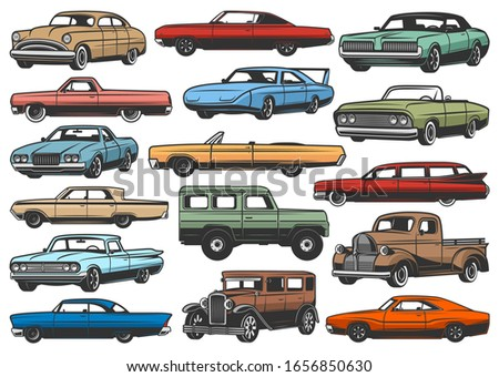Retro cars and vintage rarity vehicles isolated vector models. Automobiles, cabriolet with retractable top and limousine, pickup truck and crossover, sport car and sedan, hatchback