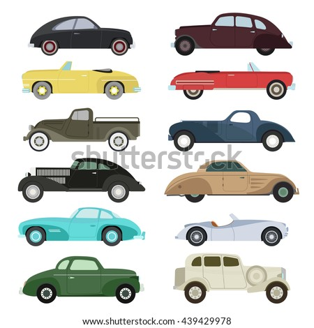 retro cars icons set vintage