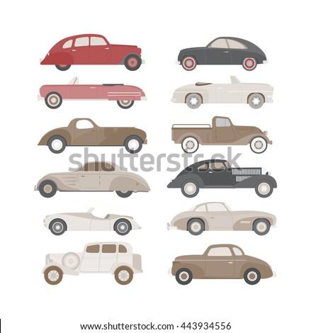 retro cars icons set vintage