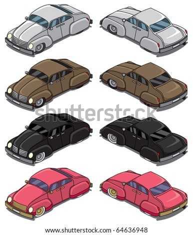 Retro Cars Part 1: Collection of 4 retro cars. Each shown in front and back. When you flip them horizontally you get each car in 4 directions. No transparency and gradients used. - stock vector