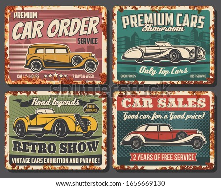Retro cars vector vintage rusty metal plates. Rarity classic cars museum exhibition and old transport parade show, premium vehicles showroom, automobile sales and taxi order service Сток-фото ©