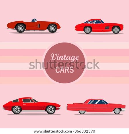 retro cars vintage cars vectors
