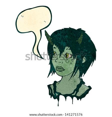 retro cartoon alien girl