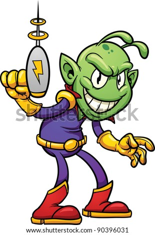 Retro cartoon alien holding a ray gun vector illustration with simple