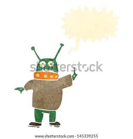 retro cartoon alien man