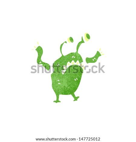 retro cartoon alien monster