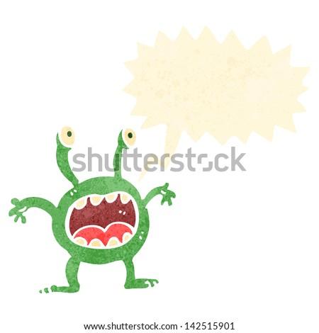 retro cartoon alien shouting