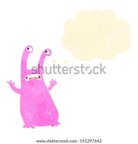 retro cartoon alien slug monster