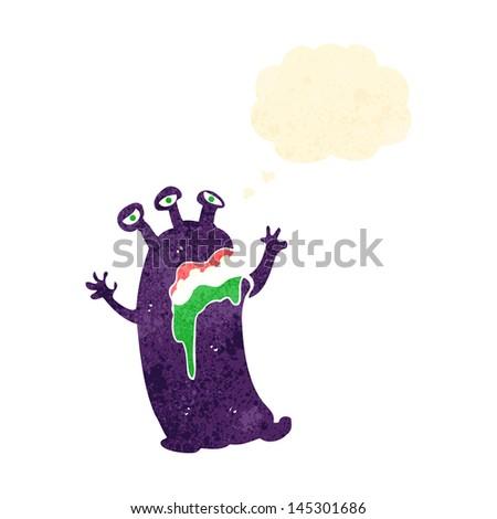 retro cartoon alien space monster