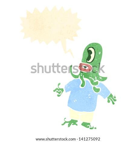 retro cartoon alien space monster with speech bubble