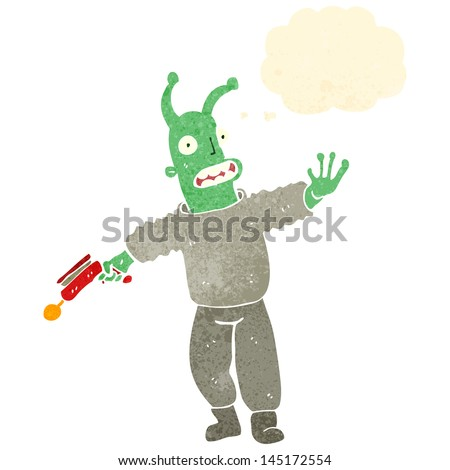 retro cartoon alien with thought bubble