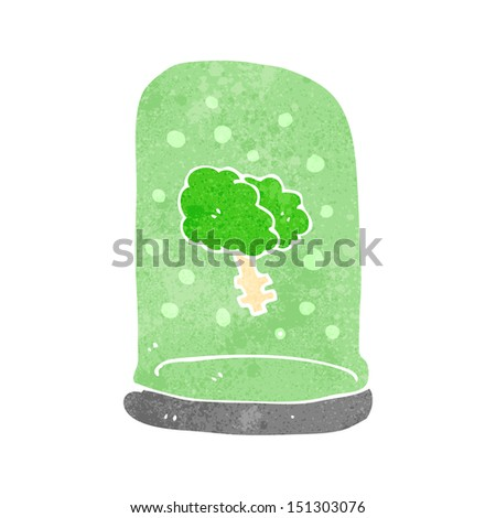 retro cartoon brain in jar