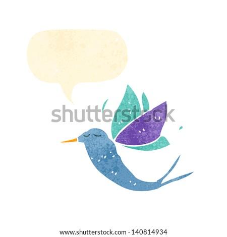 retro cartoon exotic bird