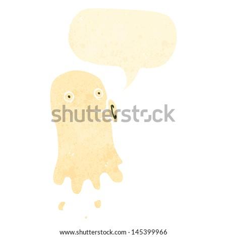 retro cartoon ghost with speech