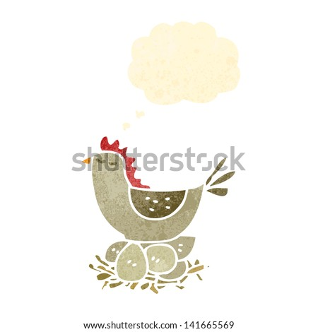 retro cartoon hen on nest of eggs