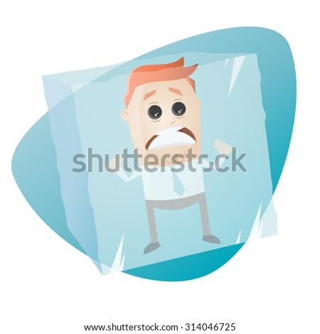 retro cartoon man in ice cube