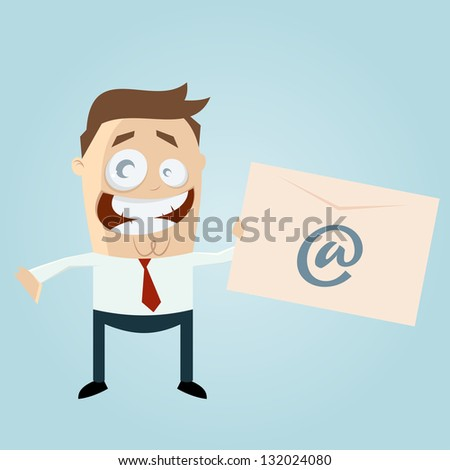 Retro cartoon man with letter