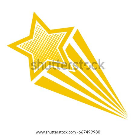 Retro cartoon pop art comic style shooting star. Vector illustration, eps 10