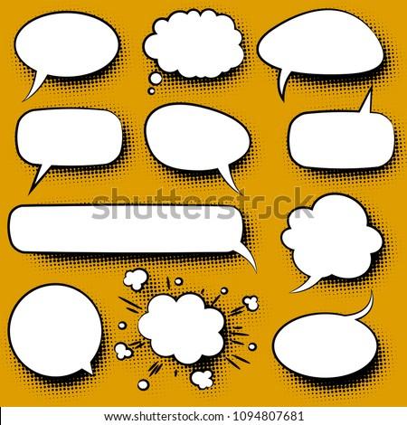 Retro cartoon speech bubble with halftone screen shadow  template vector set