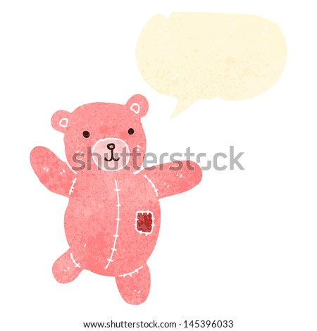 retro cartoon teddy bear with