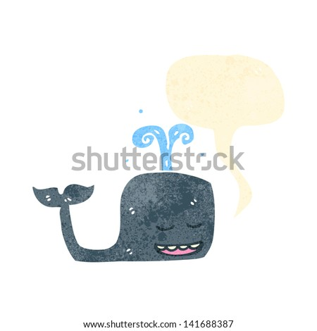 retro cartoon whale with speech bubble