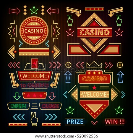 Retro casino icons, pointers, arrows. Neon signs. Vector illustration of a set of luminous elements