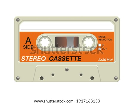 Retro cassette. Audio equipment for analog music records. Blank stereo tape. Isolated plastic musical device. Old-fashioned mixtape of tunes and songs. Vector hipster multimedia tool with copy space Сток-фото ©