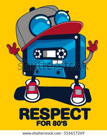 retro cassette character design