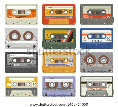 Retro cassettes. Colorful plastic audio cassette vintage media device music technology tapes stereo record images eighties. Vector sticker casettes for dj equipment isolated play radio tecnology set