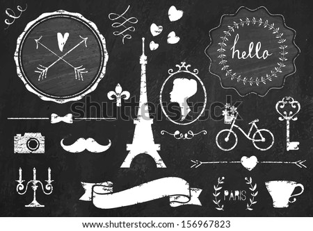 Retro chalk elements and icons set for retro design. Paris style. With bicycle, ribbon, mustache, bow, tower and camera. Vector illustration. Chalkboard background.