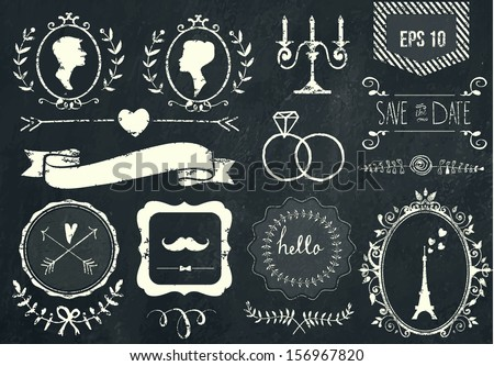 Retro chalk elements and icons set for retro design. Paris style. With ribbon, bow, eiffel tower, border, woman profile, man profile and wedding decor. Vector illustration. Chalkboard background.