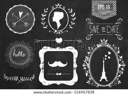 Retro chalk elements and icons set for retro design Paris style With ribbon mustache bow eiffel tower border woman profile and wedding decor Vector illustration Chalkboard background