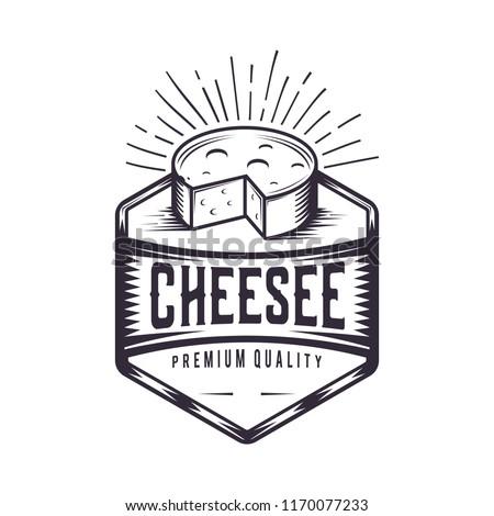 Retro Cheese joint. Vintage fast food illustration. Logo design.