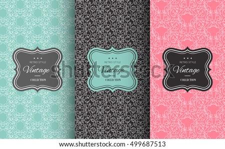Retro chic pattern background. Vector illustration for design. Abstract geometric frame. Stylish decorative label set Art decoration texture wallpaper package Elegant fashion simple border