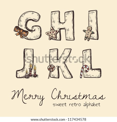 retro christmas alphabet - g, h, j, k, l, i - stock vector