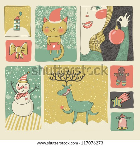Retro Christmas and New Year set in vector. Cute cartoon style