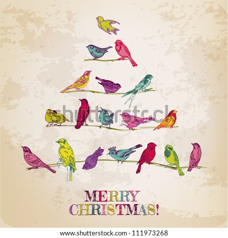 Retro Christmas Card Birds on Christmas Tree for invitation congratulation in vector