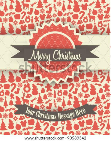 Retro Christmas Card Design with Christmas Elements