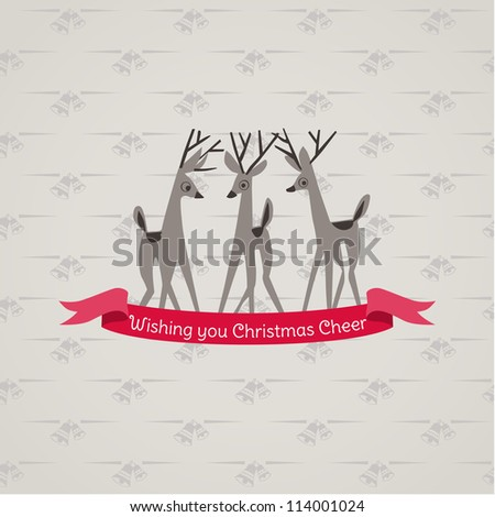 Retro Christmas Card - for invitation, congratulation in vector - stock vector