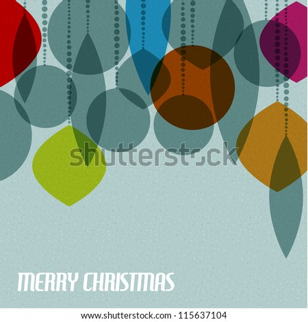 Retro Christmas card with christmas decorations - teal, brown and red - stock vector