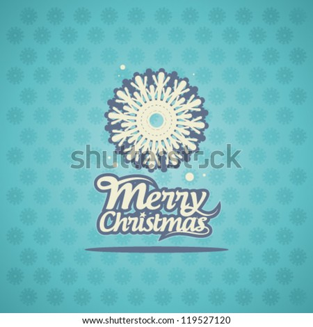 Retro Christmas card with snowflake.